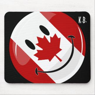 Bandera canadiense sonriente de la ronda brillante alfombrilla de ratón