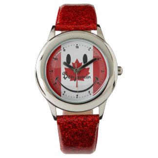 Bandera canadiense sonriente relojes