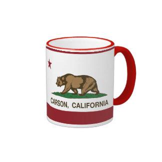 Bandera Carson del estado de California Tazas De Café