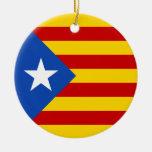 Bandera catalana de la independencia de adorno navideño redondo de cerámica