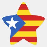 Bandera catalana de la independencia de pegatina en forma de estrella