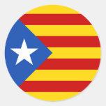 Bandera catalana de la independencia de pegatina redonda