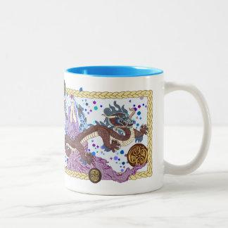 Bandera celestial del dragón tazas de café