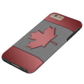 Bandera cepillada del canadiense de la mirada del funda de iPhone 6 plus tough