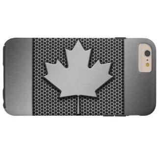 Bandera cepillada del canadiense del metal funda para iPhone 6 plus tough