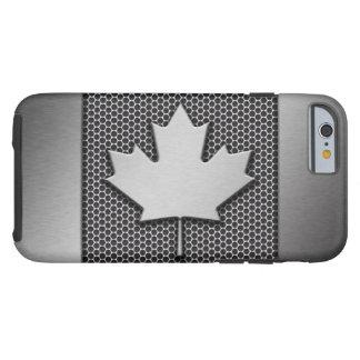 Bandera cepillada del canadiense del metal funda para iPhone 6 tough