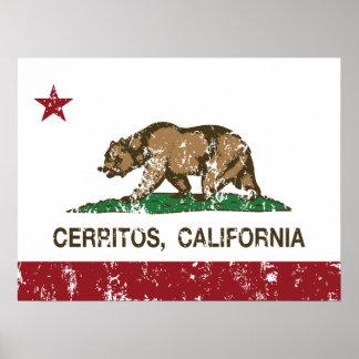 Bandera Cerritos del estado de California Posters