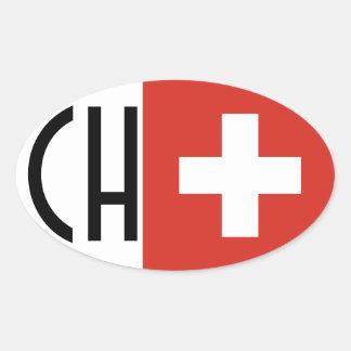 Bandera CH de CUATRO Suiza Pegatinas Óvales