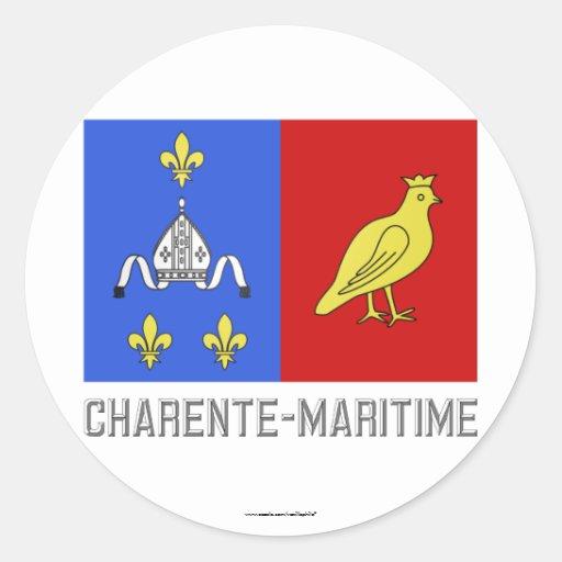 Bandera Charente-Marítima con nombre Pegatina Redonda