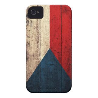 Bandera checa de madera vieja Case-Mate iPhone 4 coberturas