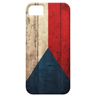 Bandera checa de madera vieja funda para iPhone 5 barely there
