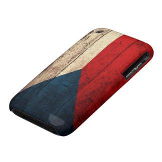 Bandera checa de madera vieja iPhone 3 fundas