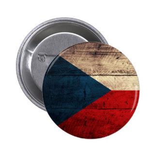 Bandera checa de madera vieja pin redondo 5 cm