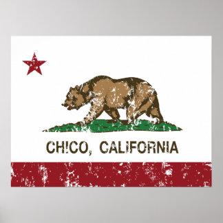 Bandera Chico del estado de California Póster