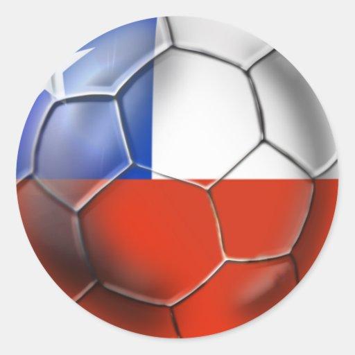 Bandera chilena del balón de fútbol de Roja del LA Pegatina Redonda
