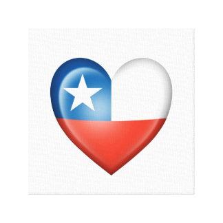 Bandera chilena del corazón en blanco lienzo envuelto para galerías