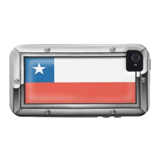 Bandera chilena en un marco de acero Case-Mate iPhone 4 carcasas