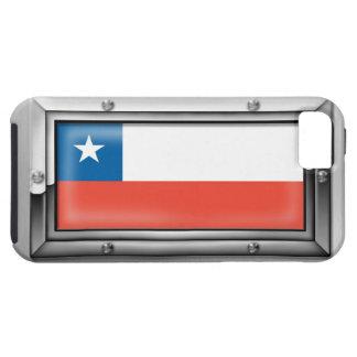 Bandera chilena en un marco de acero funda para iPhone SE/5/5s