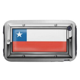 Bandera chilena en un marco de acero funda resistente para iPhone 3