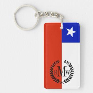 Bandera chilena llavero rectangular acrílico a doble cara