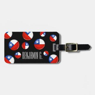 Bandera chilena redonda brillante etiquetas maletas