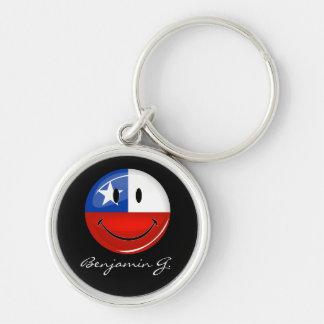 Bandera chilena sonriente de la ronda brillante llavero redondo plateado