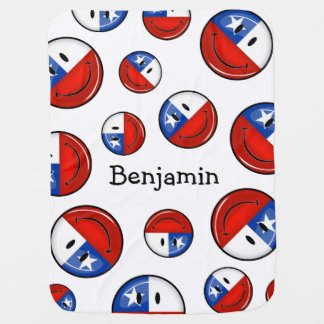 Bandera chilena sonriente de la ronda brillante manta de bebé