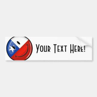 Bandera chilena sonriente de la ronda brillante pegatina para auto