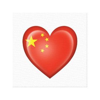 Bandera china del corazón en blanco lona envuelta para galerías