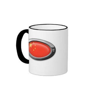 Bandera china en el marco de acero taza de café