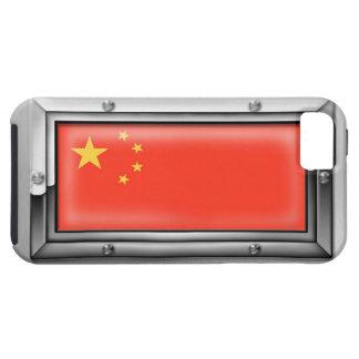 Bandera china en un marco de acero funda para iPhone SE/5/5s