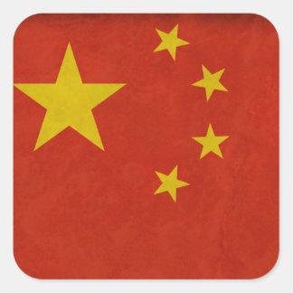 Bandera China Pegatina Cuadrada
