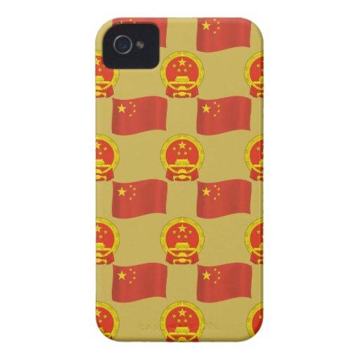 Bandera china y emblema nacional iPhone 4 Case-Mate protectores