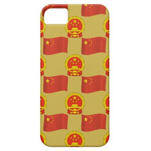 Bandera china y emblema nacional iPhone 5 fundas