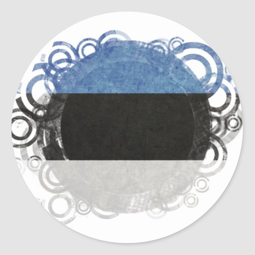 Bandera circular de Estonia Pegatina Redonda