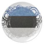 Bandera circular de Estonia Plato De Comida
