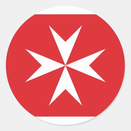 Bandera civil bandera de Malta, Maldivas Pegatina Redonda