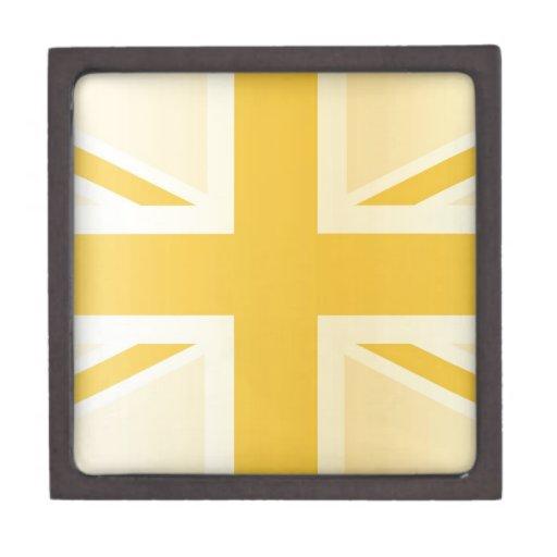 Bandera clásica de oro de Union Jack Británicos (R Caja De Recuerdo De Calidad