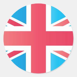 Bandera clásica de Union Jack Británicos (Reino Etiqueta Redonda