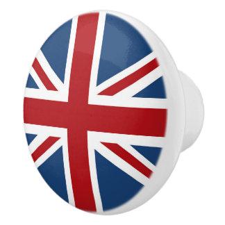 Bandera clásica de Union Jack Reino Unido Pomo De Cerámica