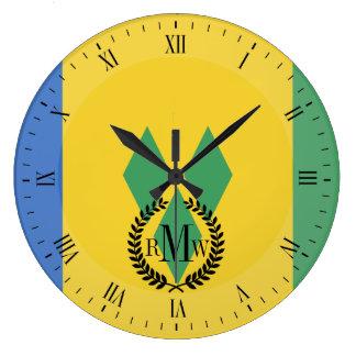 Bandera clásica de Vincent de santo Reloj Redondo Grande