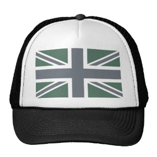 Bandera clásica gris de Union Jack Británicos (Rei Gorros Bordados