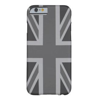 Bandera clásica negra gris de Union Jack Funda De iPhone 6 Barely There