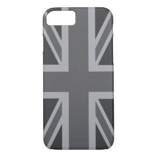 Bandera clásica negra gris de Union Jack Funda iPhone 7