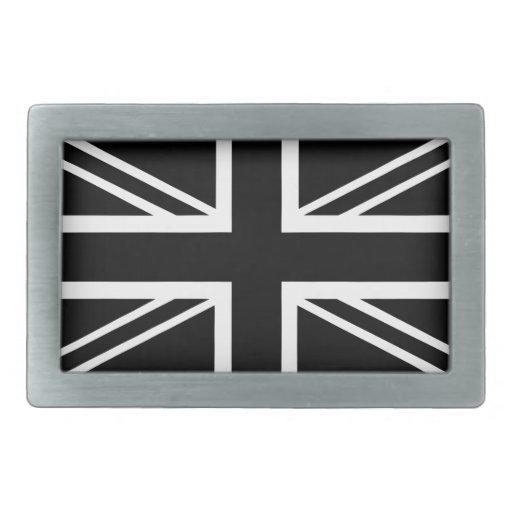 Bandera clásica negra y blanca de Union Jack Britá Hebilla De Cinturón Rectangular