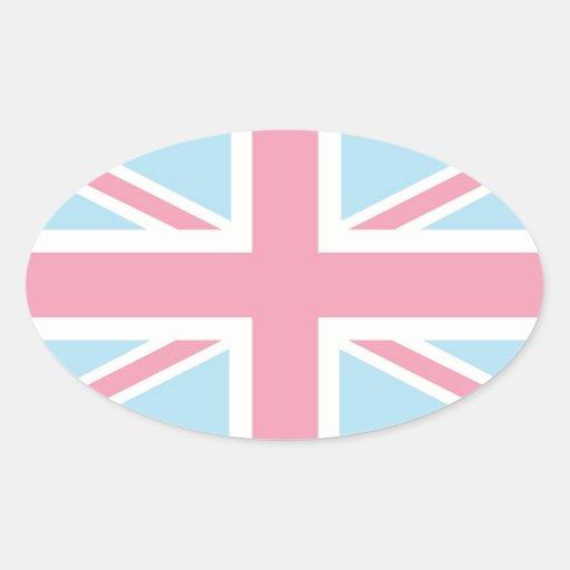 Bandera clásica preciosa rosada de Union Jack Pegatina Ovalada