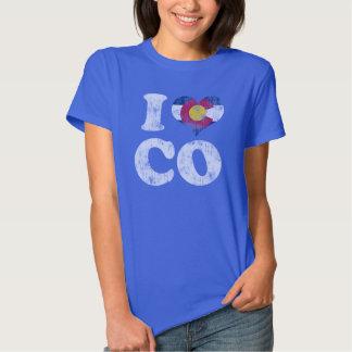 Bandera CO de Colorado del corazón I Remera