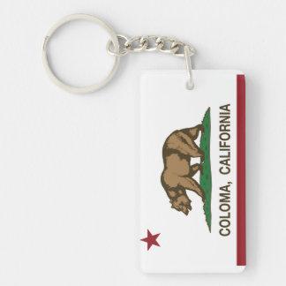 Bandera Coloma de la república de California Llavero Rectangular Acrílico A Doble Cara