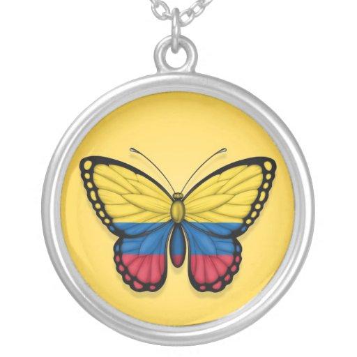Bandera colombiana de la mariposa en amarillo colgante