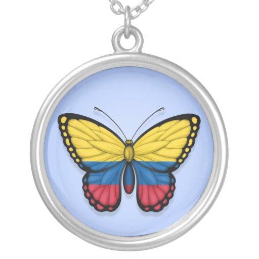 Bandera colombiana de la mariposa en azul pendientes